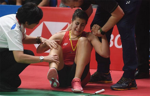 Carolina Marin was in a lot of pain after sustaining a knee injury during the 2019 Indonesia Masters final. (photo: Adek Berry/Afp/Getty Images)