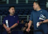 Tan Kim Her (R) and Jeremy Gan chat during Japanese team's training session prior to the start of Malaysia Open on Tuesday. (photo: Sinchew)
