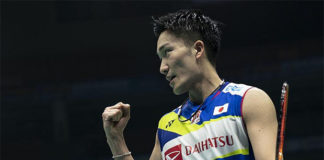Kento Momota is on course to defend the Badminton Asia Championships title. (photo: Xinhua)