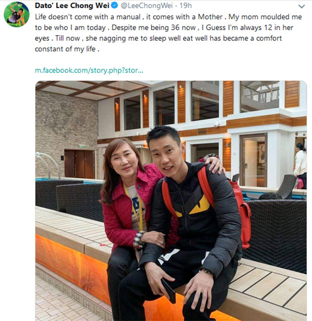 Lee Chong Wei pays tribute to his mother on Mother's Day. (photo: Lee Chong Wei's Twitter)