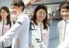 Ayaka Takahashi and Takeshi Kamura talk to reporters at Tokyo International Airport. (photo: hochi)