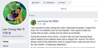 Lee Chong Wei thanks Dr. Mahathir for his support. (photo: Lee Chong Wei's Facebook)