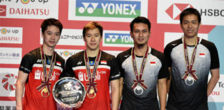 Marcus Fernaldi Gideon/Kevin Sanjaya Sukamuljo & Mohammad Ahsan/Hendra Setiawan (from left) are the World No. 1 and No. 2 men's pairs. (photo: Matt Roberts/Getty Images)