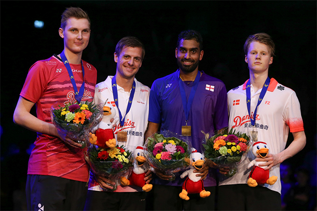 Rajiv Ouseph (2nd from Right) wins gold at the 2017 European Championships. (photo: Badminton Europe)