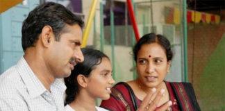 PV Sindhu at age 11 with her mother P. Vijaya and father P. V. Ramana. (photo: Mahesh Harilal)