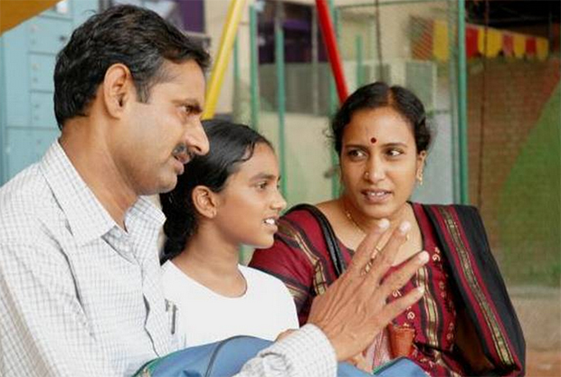 PV Sindhu at age 11 with her mother P. Vijaya and father P. V. Ramana. (photo: Mahesh Harilal)