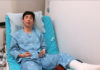 Son Wan Ho shares photo from hospital bed following ankle operation. (photo: Son Wanho's Instagram)