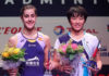 An Se Young shares the podium with Carolina Marin during the awards ceremony. (photo: BWF)