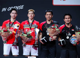 Kevin Sanjaya Sukamuljo, Marcus Fernaldi Gideon, Hendra Setiawan and Mohammad Ahsan of Indonesia are aiming for the Tokyo Olympic men's doubles gold medal. (photo: Shi Tang/Getty Images)
