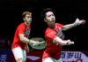 Bidder offers USD $2552.31 for Kevin Sanjaya Sukamuljo's (R) racquet. (photo: AFP)
