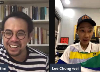 Lee Chong Wei (R) connects with Steven Sim on Facebook live. (photo: Lee Chong Wei's Facebook)
