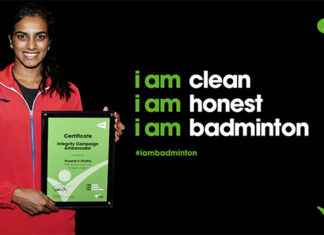 PV Sindhu is proud to be the ambassador for clean and honest badminton. (photo: BWF)
