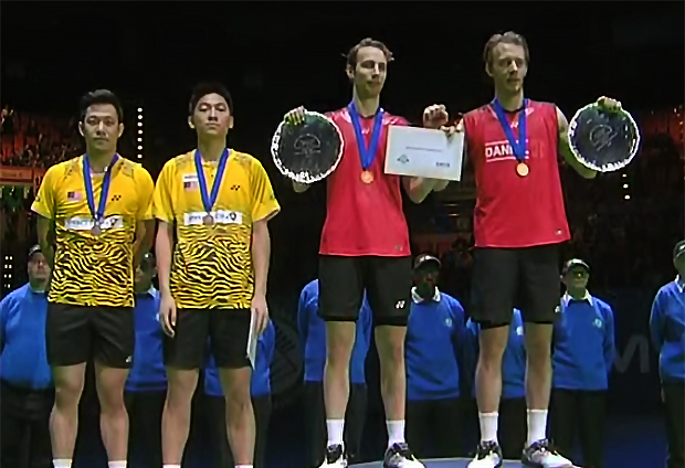 Mathias Boe/Carsten Mogensen beat Koo Kien Keat/Tan Boon Heong 15-21, 21-18, 21-18 in the 2011 All England men's doubles final.
