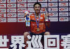 Kento Momota donates prize money and masks to Japan's front-line workers fighting COVID-19. (photo: Xinhua)