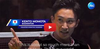 Kento Momota steps up to help fight coronavirus in Japan. (photo: screenshot from P&G video)