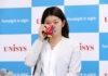 Ayaka Takahashi shows vulnerability and tears during her retirement speech. (photo: Nihon Unisys)