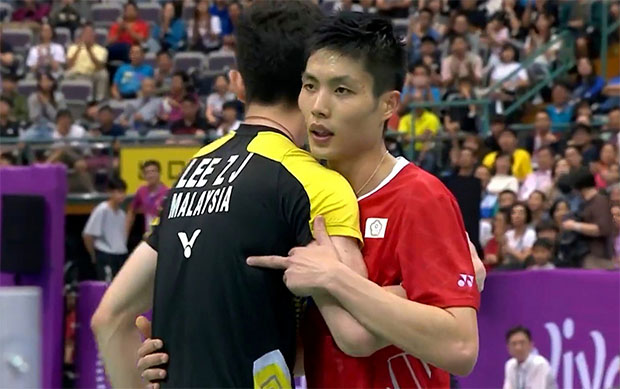 Chou Tien Chen was seen raising his middle figure after the 2018 Chinese Taipei semi-final against Malaysia's Lee Zii Jia.