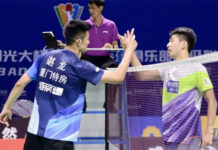 Chen Long (L) thanks Lin Guipu after Wednesday's 2020 China Badminton Super League (CBSL) match. (photo: CBSL)