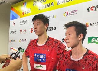 Feng YanZhe/Ren XiangYu win an epic battle against Zheng SiWei/Liu YuChen in the 2020 China Badminton Super League (CBSL). (photo: Weibo)
