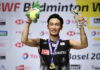 Kento Momota is looking to win his third straight Denmark Open title. (photo: AFP)