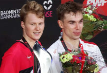 Anders Antonsen and Rasmus Gemke together on Denmark Open podium.