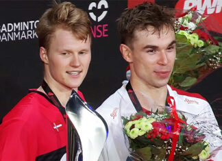 Anders Antonsen and Rasmus Gemke together on Denmark Open podium.
