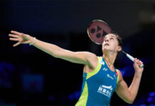 Carolina Marin cruises into the 2020 SaarLorLux Open Quarters. (photo: Lars Ronbog / FrontZoneSport via Getty Images)
