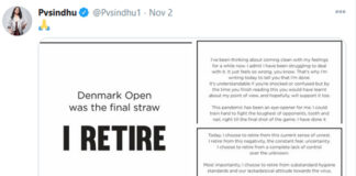 """""""I RETIRE"""" message from PV Sindhu. (photo: PV Sindhu's Twitter)"""