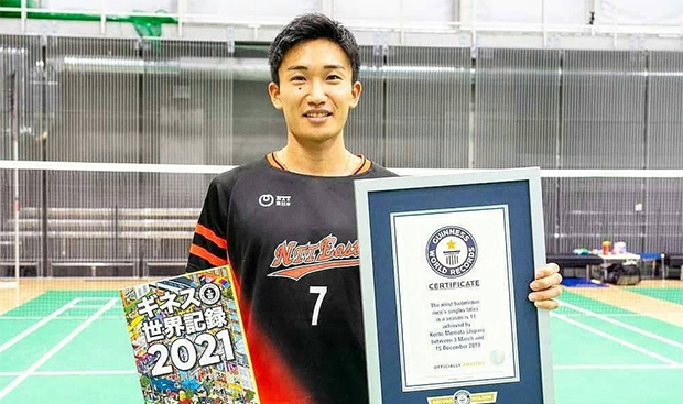 Kento Momota And Guinness World Records. (photo: Guinness World Records)
