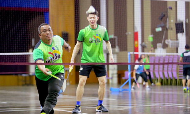 Lee Zii Jia plays men's doubles with Muhammad Sanusi Md Nor. (photo: UPDA)