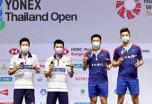 Goh V Shem/Tan Wee Kiong and Wang Chi-Lin/Lee Yang at the YONEX Thailand Open award ceremony. (photo: Badminton Thai)