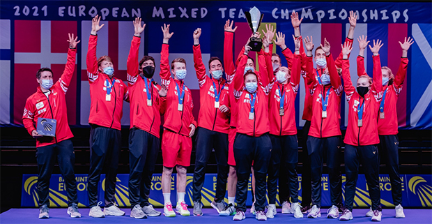 Denmark beats France in the 2021 European Mixed Team Badminton Championships final. (photo: Badminton Europe)