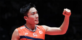 Kento Momota talks about his own experience on the 10th Anniversary of the Tohoku Earthquake and Tsunami. (photo: Zhong Zhi/Getty Images)