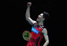 Lee Zii Jia pumps his fist after his 2021 All England semi-final victory. (photo: Naomi Baker/Getty Images)