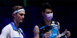 Lee Zii Jia (R) and Viktor Axelsen together on 2021 All England podium. (photo: Adrian Dennis/AFP via Getty Images)