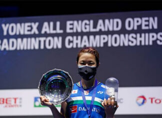 Congratulations to Nozomi Okuhara for winning the 2021 All England title.(photo: Adrian Dennis/AFP via Getty Images)