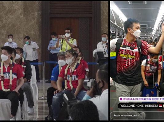 Kevin Sanjaya Sukamuljo, Marcus Fernaldi Gideon, Hendra Setiawan, and the whole Indonesian team have arrived safely in Indonesia Monday night Indonesian time. (photo: PBSI)