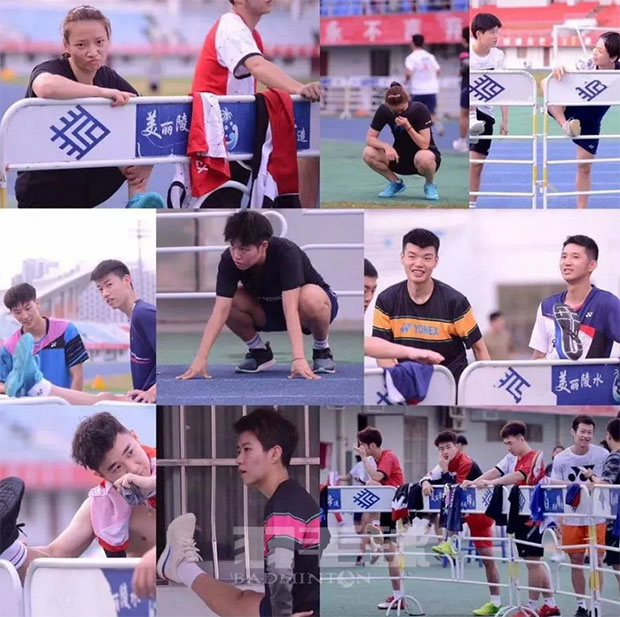 Chinese badminton players participate in track and field training. (photo: Badminton China)