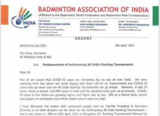 Official letter from BAI about the postponement of all domestic badminton tournaments in India. (photo: BAI)