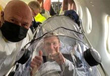 Viktor Axelsen looks upbeat inside the bubble shield. (photo: Viktor Axelsen's Facebook)