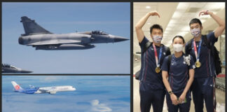 Four fighter jets escort the Taiwanese badminton team back to Taiwan. (photo: CNA)