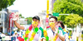 Lee Yang/Wang Chi-lin receive hero's welcome in Kinmen, Taiwan. (photo: Kinmen County)