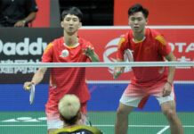 Han Cheng Kai (top left) retires from badminton at 23 years of age. (photo: Weibo)