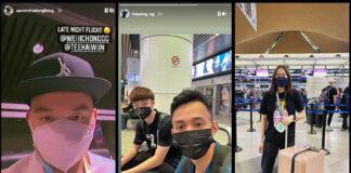 Aaron Chia, Ng Tze Yong, Aidil Soleh, and Pearly Tan are waiting for the flight to Vantaa, Finland at Kuala Lumpur International Airport. (photo: Instagram - Aaron Chia, Ng Tze Yong, Pearly Tan)
