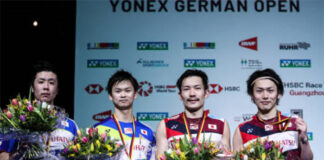 Hiroyuki Endo (Left), Keigo Sonoda (Second Right), and Takeshi Kamura (Right) resign from the Japanese national badminton team. (photo: Shi Tang/GettyImages)