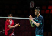 Lee Zii Jia beats Brian Yang of Canada at the 2020 Thomas Cup finals on Tuesday. (photo: Shi Tang/Getty Images)