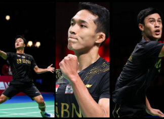 Anthony Sinisuka Ginting, Jonatan Christie & Shesar Hiren Rhustavito seal victory for Indonesia against Chinese Taipei at the 2020 Thomas Cup Finals on Wednesday.(photo: Shi Tang/Getty Images)
